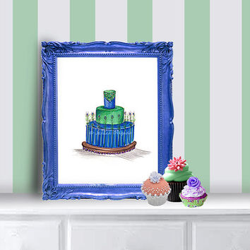 Birthday Cake Illustration, Wedding Cake, Peacock Cake, Cake Drawing, Feathers, 8 by 10 print, Home Office, Studio Art, Kitchen Art