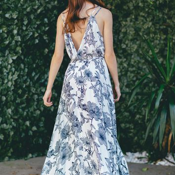 Jeanette Navy Floral Maxi Dress