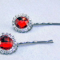 Red Rhinestone Hair Pins Red Hair Clip Bobby Pins Crystal Rhinestone Hair Clip Teen Hair Accessories Gift Special Occasion Hair Jewelry
