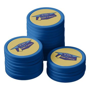 We Did It Class of 20XX Two Blues Graduation Hat Poker Chip Set