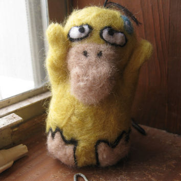Pokemon Needle Felted Psyduck by EmilylovesNeedles on Etsy
