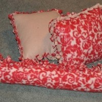 Red and Tan Paisley Fleece Throw Pillow 3 piece set