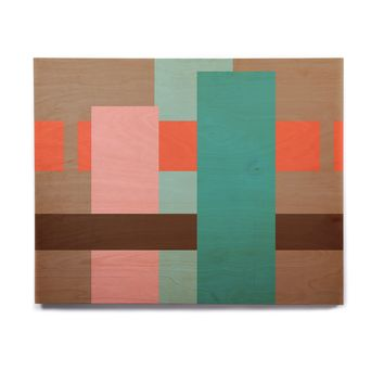 """bruxamagica """"Abstract Coral"""" Coral Multicolor Abstract Geometric Digital Vector Birchwood Wall Art"""