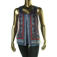 Style & Co. Womens Petites Sleeveless Printed Pullover Top