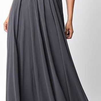 Twisted Bodice Chiffon Charcoal Bridesmaid Dress Long Strapless