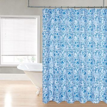 "Royal Bath Blue Damask Water Repellant Fabric Shower Curtain -70"" x 72"""