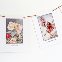Flower Fairies Garland, Pink Bunting, Cicely Mary Barker, Flower Fairy Bunting, Nursery Bunting, Paper Banner. Eco-friendly Pennants