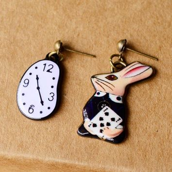 Asymmetry Cute Fantasy Girl Alice in Wonderland Watch Rabbit Enamel Earrings Women Fairy Tale Movie Matching Accessory #273424