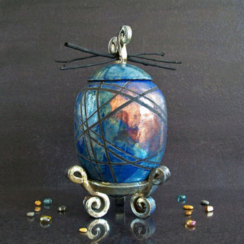 raku ceramic Urn - cobalt blue and copper