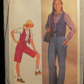 Sale Uncut 1970's Simplicity Sewing Pattern, 8612! Size 14 Medium/women's/Misses/Juniors Bell Bottom Pants/Lined Vests/Flare Shorts/Explorer