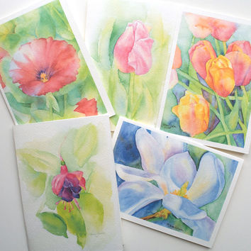 Floral Watercolor Painting Cards Set of 5