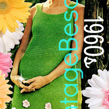 INSTANT DOWNlOAD - PdF Pattern - Spring Flower Dress Crochet PATTERN Vintage 1960s A Line Dress is Easy to Make and Easy to Wear Fashion