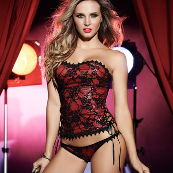 Wet Look And Lace Bustier Set
