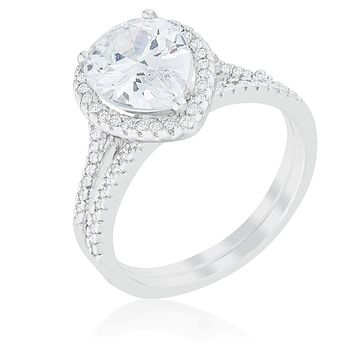 WildKlass Halo Solitaire Pear Engagement Ring