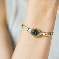 Tiny floral watch for women Seagull, summer watch women, gold shade lady watch, ceramic watch bracelet cocktail watch black oval small wrist