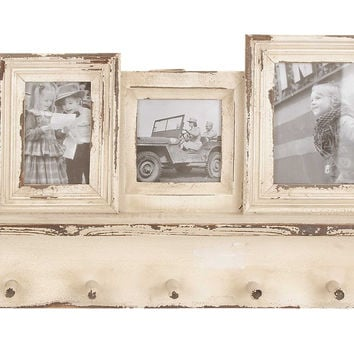 Robust Design Wooden Photo Frame With Hooks And Paneled Accents