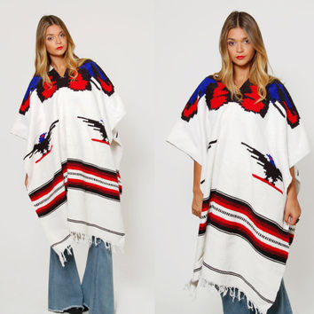 Vintage 70s THUNDERBIRD Print Poncho MEXICAN Blanket Cape Ethnic Hippie Sweater with FRINGE Southwestern Poncho