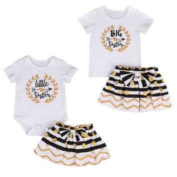 DCCKL3Z 2017 New Toddler Baby Kids Girls T-shirt Romper Bodysuit and Dress Matching Clothes 2pcs