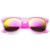 Frosted Neon Retro Party Reflective Mirror Lens Horned Rim Sunglasses 8651