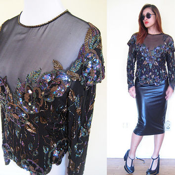 Vintage 80's sequined beaded cocktail party dynasty disco black blouse