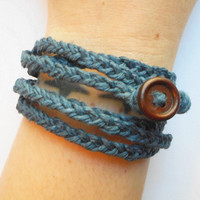 Braided Hemp Wrap Bracelet in Navy Denim Blue, ready to ship.