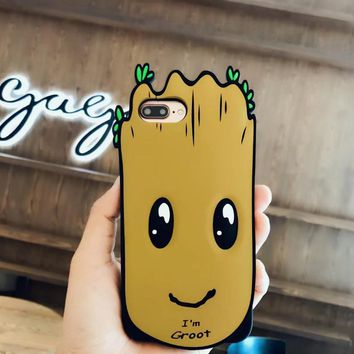Lovely silicone Groot mobile phone case for iPhone X 7 7plus 8 8plus iPhone6 6s plus -171123