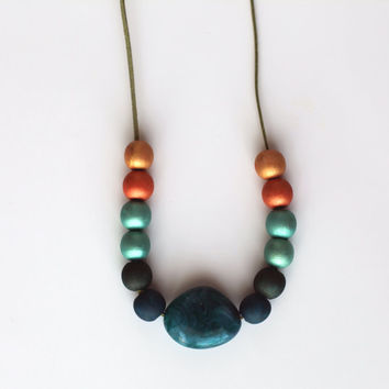 Gold Teal Turquoise extra large necklace, chunky turquoise orange gold necklace, wood hand painted chunky beads