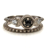 New Moon Engagement Ring - Black Diamond and White Diamonds, 14k Palladium White Gold with Pyramid Side Band