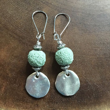 Mint Green Earrings, Lava Rock Earrings, Essential Oil Earrings, Metal Earrings, Spring Earrings, Silver Earrings, Dangle Earrings,