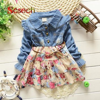 New Fashion Baby Girls Cowboy Dress Spring Long Sleeve Denim Floral Print Dresses Birthday Party Baby Dresses For Girls SKC55