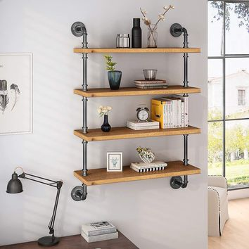4-shelf shelf wall mount, industrial hollow solid wood floating shelving unit bookcase, brown (4 layers)