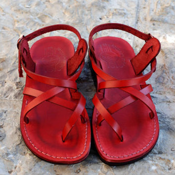 Leather sandal red leather jesus sandal for man and woman holy land sandals