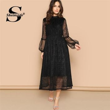 01fb3fdb57d Sheinside Scalloped Mock Neck Sheer Balloon Sleeve Lace Dress Elegant Sheer  Party Sexy Dresses for Women