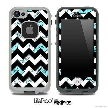 Turquoise Fishy and Black V6 Chevron Pattern Skin for the iPhone 5 or 4/4s LifeProof Case