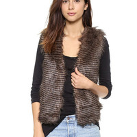 Brown Faux Fur Vest Jacket
