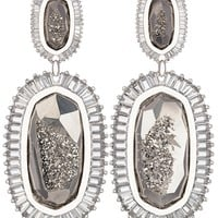 Kaki Baguette Earrings in Platinum Drusy - Kendra Scott Jewelry