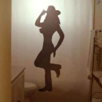 Sexy Cowgirl Shower Curtain Pin Up Female Cowboy Hat Boots Nude Woman Naked Girl Silhouette Choice Of 2 Designs