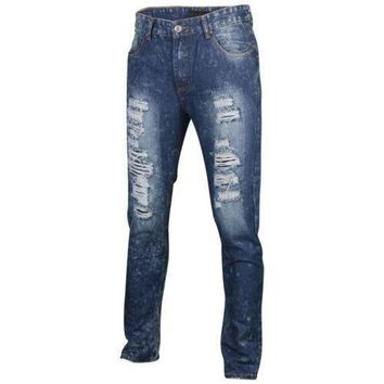 Men's Straight Fit Destroyed Ripped Denim Jeans