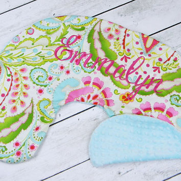 Boppy Pillow Cover- Personalized Boppy Cover- Kumari Print and Aqua Minky Boppy Cover