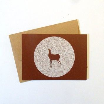 Postcard with envelope, triangle deer theme, geometry, brown drawing, deer illustration, deer drawing, abstract painting, artworks