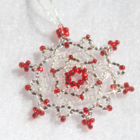 Snowflake Ornament - Christmas Red Holiday Decor