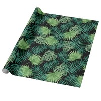 Green Tree Leaves Plants Pattern Wrapping Paper