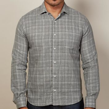 Grey Windowpane & Gingham Double-Cloth Shirt - Georgie