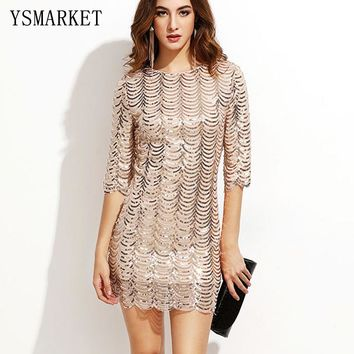 2017 Spring Party Gold Wave Sequin Dress Women Glittering Half Sleeve Bla Sheer Shift Cut Out Sequin Mesh Straight dress E1790
