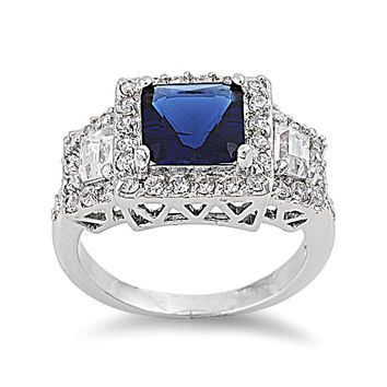 925 Sterling Silver CZ Embraced Princess Cut Simulated Sapphire Ring 12MM