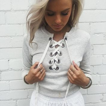 Pullover Solid Color Lace Up Scoop Short Sweatshirt