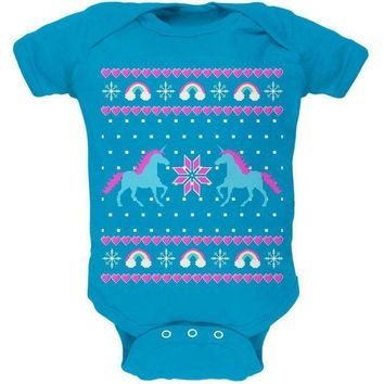ICIK8UT Unicorn Rainbow Ugly Christmas Sweater Soft Baby One Piece