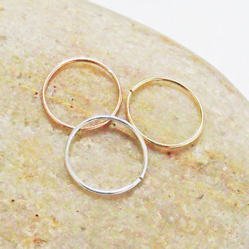 Set of Three Thin 24 Gauge Nose Rings, Argentium Silver, 14K Gold Filled, 14K Rose Gold Filled