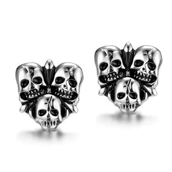 Men Skull Earrings Hip Hop Stainless Steel Post Earrings Spooky Gift Gothic Punk Personalized Party Jewelry