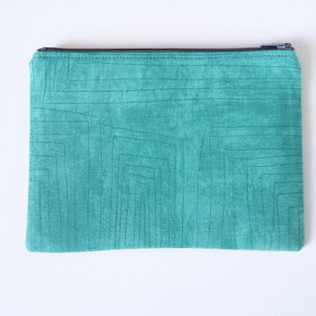 Mint Green With Thin Grey Lines Lined Zipper Pouch 100% Cotton Grey Lining & Zipper Small Clutch Great For Gift Giving